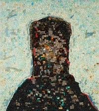 Jack Whitten, <em>Black Monolith, II: Homage To Ralph Ellison The Invisible Man</em>, 1994. Acrylic and mixed media on canvas: molasses, copper, salt, coal ash, chocolate, onion, herbs, rust, eggshell, razor blade, 58 x 52 inches. © Jack Whitten. Courtesy the artist and Hauser & Wirth, NY.