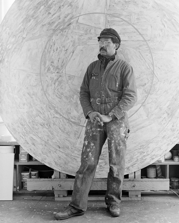 Jack Whitten, Artist studio, 36 Lispenard St, New York NY, 1983. Photo: Peter Bellamy. © Jack Whitten. Courtesy the artist and Hauser & Wirth.