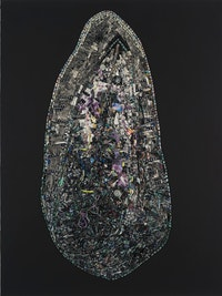 Jack Whitten, <em>Black Monolith, VII DuBois Legacy: For W.E. Burghardt</em>, 2014. Acrylic on canvas, 84 x 63 x 4 inches.