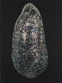 Jack Whitten, <em>Black Monolith, VII DuBois Legacy: For W.E. Burghardt</em>, 2014. Acrylic on canvas, 84 x 63 x 4 inches.