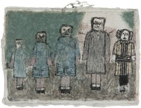 James Charles Castle, <em>Untitled (5 figures)</em>, n.d., 5 x 6 3/4 inches. © James Castle Collection and Archive LP.