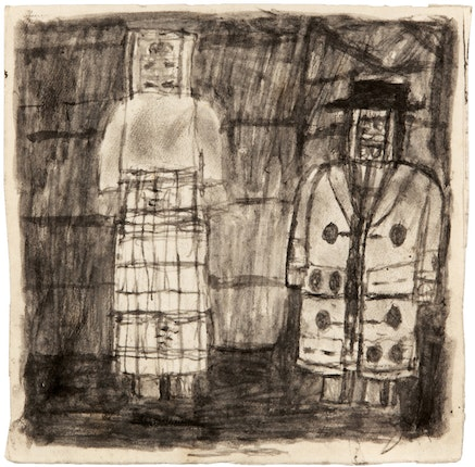 James Charles Castle, <em>Untitled (Peggy and James)</em>, n.d., 8 1/4 x 8 1/8 inches. &copy; James Castle Collection and Archive LP.