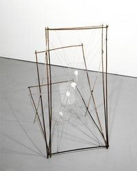 Al Taylor, <i>Pet Stain Removal Device</i>, 1989, bamboo garden stakes, Plexiglas, paint, wire, and electrical tape. The Estate of Al Taylor, Courtesy David Zwirner, New York/London.