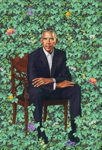 Kehinde Wiley, <em>Barack Obama</em>, 2018. Oil on canvas, 84 1/8 x 57 7/8 inches. National Portrait Gallery, Smithsonian Institution. © 2018 Kehinde Wiley.