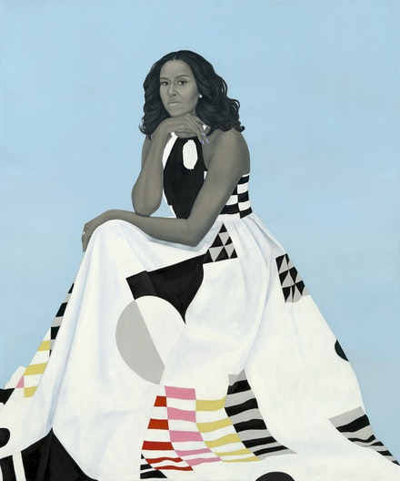 Amy Sherald, <em>Michelle LaVaughn Robinson Obama</em>, 2018. Oil on linen, 72 1/8 x 60 1/8 x 2 3/4. National Portrait Gallery, Smithsonian Institution.