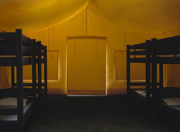 Thomas Demand, <i>Tent</i>,  2016. C-print mounted on Diasec, 86 5/8 x 118 1/4 inches. Courtesy Matthew Marks.