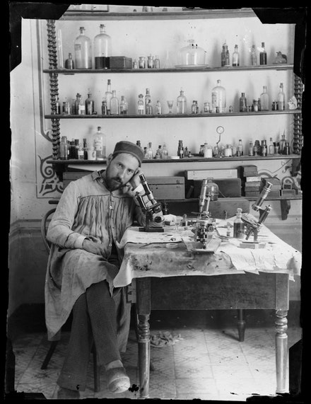 Santiago Ramón y Cajal, <i>Self-portrait</i>, taken by Cajal in his laboratory in Valencia when he was in his early thirties, c. 1885. Cajal Institute (CSIC), Madrid.