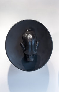 "<p>Abel Tilahun, <em>Womb</em>, 2014. Fiberglass, paint, metal satellite dish, 23"" x 32"" each. Courtesy of the artist.</p>"