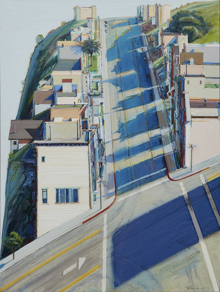 Wayne Thiebaud, <i>Ripley Ridge</i>, 1977. Oil on linen, 48 x 36 inches. Private Collection. © Wayne Thiebaud/Licensed by VAGA, New York, NY