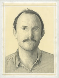 Portrait of Lucas Blalock, pencil on paper by Phong Bui. From a photograph by Zack Garlitos.
