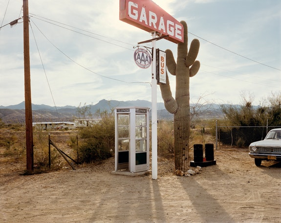 Stephen Shore, <em>U.S. 93, Wikieup, Arizona, December 14, 1976</em>, 1976. Chromogenic color print, printed 2013, 17 x 21 3/4 inches. The Museum of Modern Art, New York. Acquired through the generosity of Thomas and Susan Dunn. © 2017 Stephen Shore
