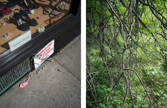 Left: Stephen Shore, <em>New York, New York, May 20, 2017</em>, 2017. Pigment print, 64 x 48 inches, Edition of 3. Courtesy the artist and 303 Gallery. Right: Stephen Shore, <em>London, England, July 9, 2017</em>, 2017. Pigment print. 64 x 48 inches, Edition of 3. Courtesy the artist and 303 Gallery.