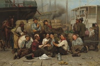 John George Brown, <em>The Longshoremen's Noon</em>, Oil on canvas, 1879, National Gallery of Art, Washington, D.C. Courtesy Smithsonian Institution.