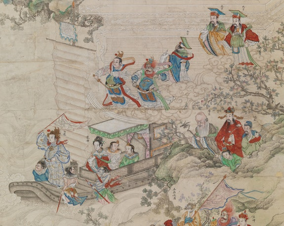 <p>Anonymous, Chinese New Year Pantheon (detail), Qing dynasty (1644–1911). Ink and colors on paper. 84 1/4 x  44 1/8 inches. Private Collection. Photo: John Bigelow Taylor 2017. Courtesy the Asia Society.</p>