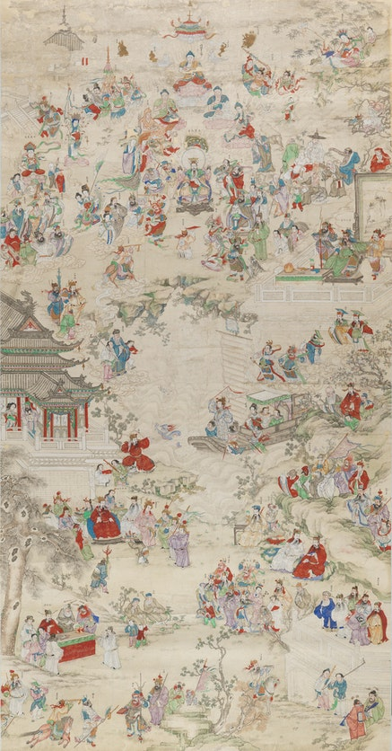 <p>Anonymous,&nbsp;Chinese New Year Pantheon&nbsp;,&nbsp;Qing dynasty (1644&ndash;1911). Ink and colors on paper. 84 1/4 x &nbsp;44 1/8 inches. Private Collection.&nbsp;Photo: John Bigelow Taylor 2017. Courtesy the Asia Society.</p>