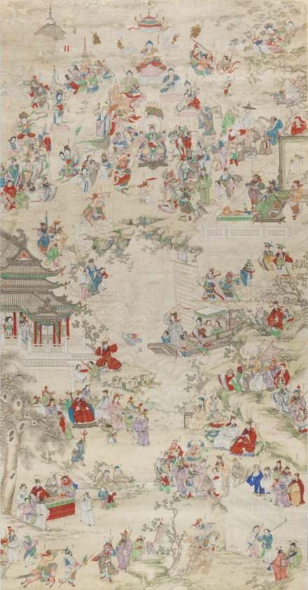 <p>Anonymous, Chinese New Year Pantheon , Qing dynasty (1644–1911). Ink and colors on paper. 84 1/4 x  44 1/8 inches. Private Collection. Photo: John Bigelow Taylor 2017. Courtesy the Asia Society.</p>