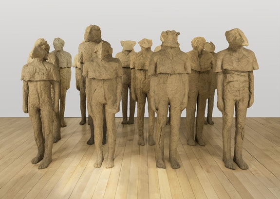 Magdalena Abakanowicz, <em>13 Coexistence Figures</em>, 2002.  Burlap, dimensions variable. Courtesy Marlborough Gallery, New York.