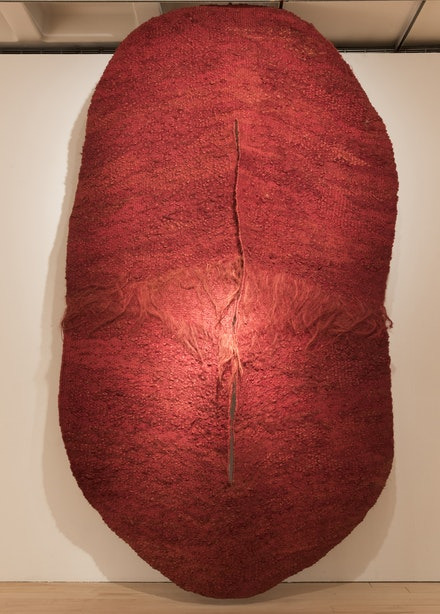 Magdalena Abakanowicz, <em>Abakan Rouge III</em>, 1971. Sisal weaving, 127 x 78 3/4 inches. Courtesy Marlborough Gallery, New York.