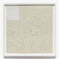 Robert Ryman, <em>Untitled,</em> 1961. Graphite pencil, charcoal pencil, and white pastel on gray paper, 10