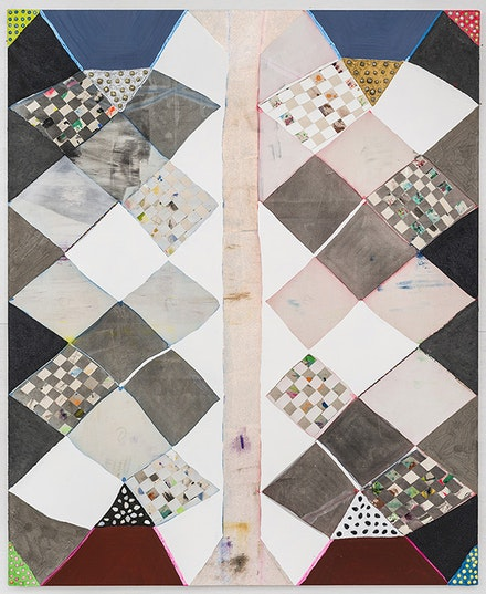 Laurel Sparks, <em>Middle Pillar,</em> 2018. Poured gesso, acrylic, ink, crayon, paper mache, ash, glitter, glass, and stone beads, jingle bells, woven canvas strips, braided yarn on canvas. Courtesy Kate Werble.