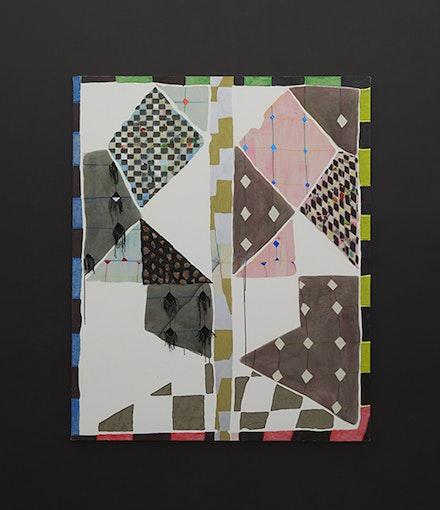 Laurel Sparks, <em>Jacob's Ladder,</em> 2018. Acrylic, gouache, crayon, paper mache, woven canvas, ash, rocks, glitter, cut holes, metallic paper, string on canvas. Courtesy Kate Werble.