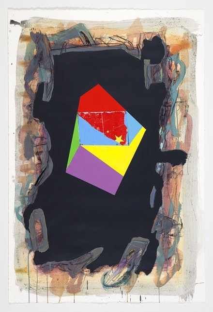 Peter Plagens, <em>Black Flag,</em> 2014. Mixed media on paper, 45 x 30 inches. Courtesy Nancy Hoffman.