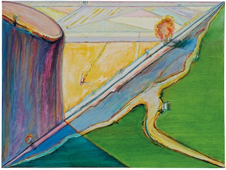 <p>Wayne Thiebaud, <em>Bluff and Farmlands</em>, 2017, oil on canvas, 30 x 40 in. From the Artist's studio. Art © Wayne Thiebaud / Licensed by VAGA, New York, NY</p>