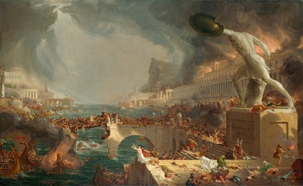 Thomas Cole,<em> The Course of Empire: Destruction</em>, 1836. Oil on canvas, 39 1/4 x 63 1/2 inches. New-York Historical Society, Gift of The New-York Gallery of the Fine Arts. Digital image created by Oppenheimer Editions.