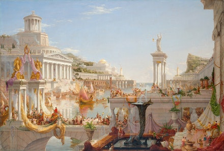 Thomas Cole, <em>The Course of the Empire: The Consummation of Empire</em>, 1835-36. Oil on canvas, 51 1/4 x 76 inches. New-York Historical Society, Gift of The New York Gallery of the Fine Arts. Digital image created by Oppenheimer Editions.