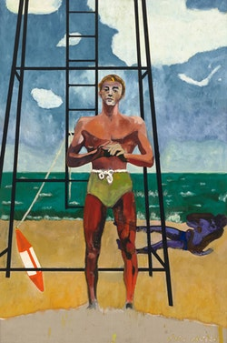 Peter Doig, <em>Red Man (Sings Calypso)</em>, 2017. Oil on linen, 116 1/4 x 76 3/4 inches. Courtesy Michael Werner Gallery, New York and London.