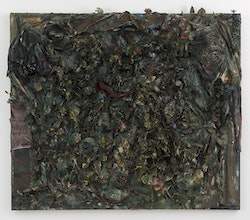 Thornton Dial, <em>The Color of Money: The Jungle of Justice</em>, 1996. Fabric, shoe, gloves, jigsaw puzzle pieces, artificial flowers and plants, dolls, stuffed animals, rope carpet, toys, cotton, found metal, other found materials, oil, enamel, spray paint, industrial sealing compound, on canvas mounted on wood. 77 x 86 x 12 inches. Courtesy David Lewis, New York. &copy; Estate of Thornton Dial. Collection of the Souls Grown Deep Foundation.