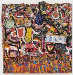 Thornton Dial, <em>Setting the Table</em>, 2003. Shoes, gloves, bedding, beaded car-seat cover, cloth carpet, artificial flowers, crushed paint cans, found metal, frying pan, cooking utensils, chain, wood, Splash Zone compound, oil, and enamel on canvas on wood, 75 x 74.5 x 8 inches. Courtesy David Lewis, New York.