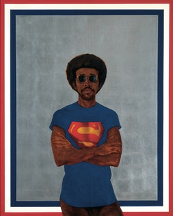 Barkley L. Hendricks, <em>Icon for my Man Superman (Superman Never Saved Any Black People-Bobby Seale)</em>, 1969. Oil, acrylic and aluminum leaf on linen canvas, 59 1/2 x 48 inches. &copy; Estate of Barkley L. Hendricks. Courtesy of the artist&rsquo;s estate and Jack Shainman Gallery, New York.