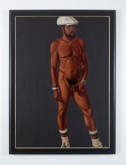 Barkley L. Hendricks, <em>Brilliantly Endowed</em>, 1977. Oil and acrylic on linen canvas, 66 x 48 inches. &copy; Estate of Barkley L. Hendricks. Courtesy of the artist&rsquo;s estate and Jack Shainman Gallery, New York.