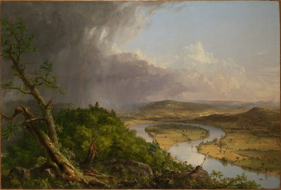 Thomas Cole, <em>View from Mount Holyoke, Northampton, Massachusetts, after a Thunderstorm&mdash;The Oxbow</em>, 1836. Oil on canvas, 51 1/2 x 76 in. The Metropolitan Museum of Art, New York, Gift of Mrs. Russell Sage, 1908. &copy; The Metropolitan Museum of Art.