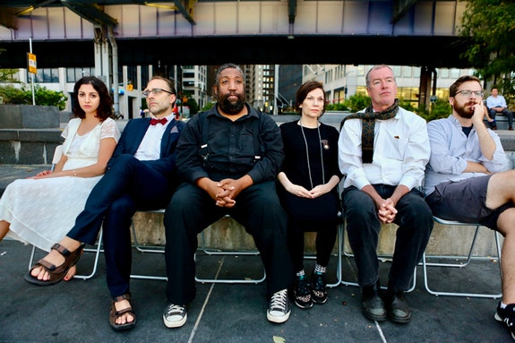 Performers in The Assembly's <em>SEAGULLMACHINE</em> (left to right):  Layla Khosh, Ben Beckley, Rolls Andre, Elena McGhee, Christopher Hurt, Edward Bauer. Photo: Marina McClure.