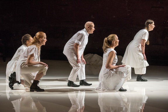 <p>Jo Stewart, Allison Sniffin, Ellen Fisher, Katie Geissinger, and Meredith Monk. </p>Photo: Stephanie Berger