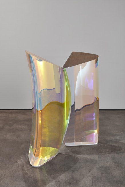 Mariko Mori, <em>Plasma Stone II</em>, 2017&ndash;2018, Dichroic coated layered acrylic in 2 parts, Corian base, 50 x 23 1/2 x 18 inches each, edition of 5 with 2 APs. &copy; Mariko Mori. Photo: Jason Wyche, New York. Courtesy Sean Kelly, New York.