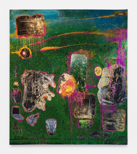 Chris Martin, <em>Double Frog Afternoon</em>, 2017. Oil, acrylic, collage and glitter on canvas, 135 x 118 inches. © Chris Martin. Courtesy Anton Kern, New York.