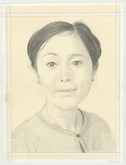 Portrait of Mariko Mori, pencil on paper by Phong Bui. Based on a photo by Zack Garlitos.
