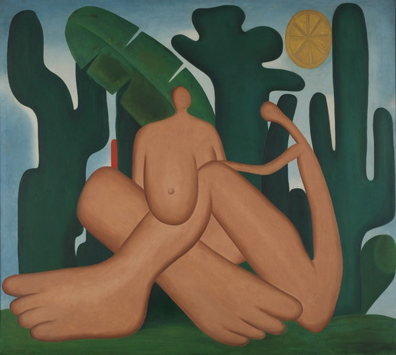 <p>Tarsila do Amaral<em>, Anthropophagy (Antropofagia)</em>, 1929. Oil on canvas, 49 5/8 x 55 15/16 inches. &copy; Tarsila do Amaral Licenciamentos.</p>