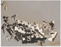 Jay DeFeo, <em>Traveling Portrait (Chance Landscape)</em>, 1973. Photo collage with acrylic and glue on paperboard. 14 1/2 by 19 inches. Courtesy Mitchell-Innes & Nash.