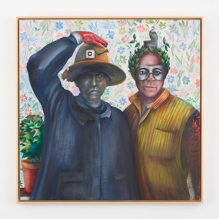 Martial Raysse, <em>Ces deux gars–là</em>, 2008. Acrylic on canvas, 47 1/4 x 47 1/4 inches. © Martial Raysse, 2018. Image courtesy of Lévy Gorvy.
