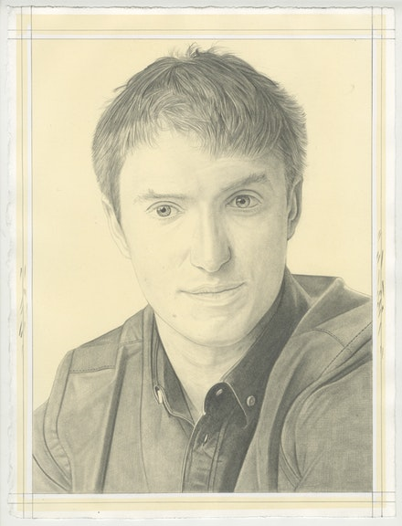 Portrait of Lucas Zwirner, pencil on paper by Phong Bui. Based on a photo by Zack Garlitos.