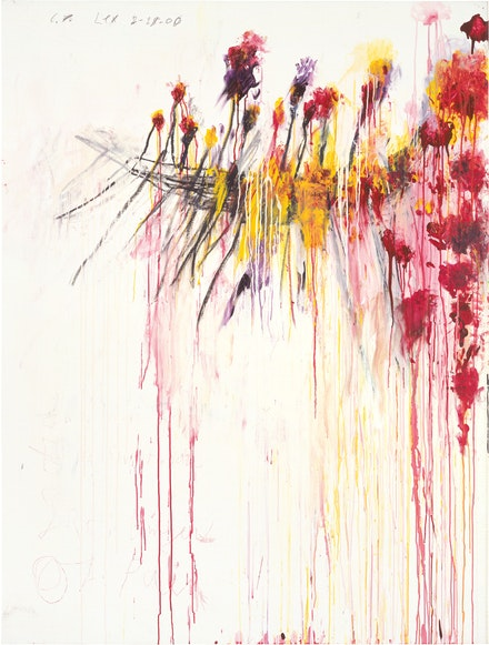Cy Twombly, <em>Coronation of Sesostris (Part V)</em>, 2000. Acrylic, wax crayon, and lead pencil on canvas, 81 x 61 1/2 inches. © Cy Twombly Foundation. Photo by Rob McKeever, Courtesy Gagosian.
