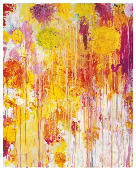 Cy Twombly, <em>Untitled</em>, 2001. Acrylic, wax crayon, and cut-and-pasted paper on paper 48 1/8 x 38 3/4 inches. Private Collection &copy; Cy Twombly Foundation, Courtesy Gagosian.