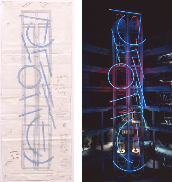 Left: Stephen Antonakos, <em>Untitled Drawing (Neons for the Stadtsparkasse Cologne)</em>, July 1992. Graphite and colored pencil on paper, 26 x 10 1/8 inches. Scale: 1:50. Right: Stephen Antonakos, <em>Neons for the Stadtsparkasse</em>, 1993. (Interior tower) Painted metal, neon, 100 x 26 feet. Stadtsparkasse, Cologne, Germany, 1993. Photo: Carl Victor Dahmen, Cologne.