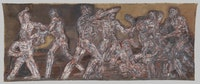 Leon Golub, <em>Gigantomachy II</em>, 1966. Acrylic on linen, 9 ft. 11 1/2 in. x 24 ft. 10 1/2 in. © The Nancy Spero and Leon Golub Foundation for the Arts/Licensed by VAGA, New York, NY.