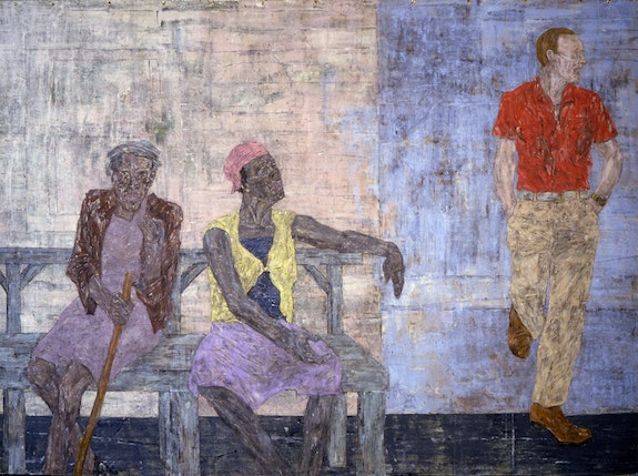 Leon Golub, <em>Two Black Women and a White Man</em>, 1986. Acrylic on linen, 120 x 163 inches. Courtesy Ronald Feldman Gallery, New York. © The Nancy Spero and Leon Golub Foundation for the Arts/Licensed by VAGA, New York, NY