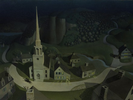 Grant Wood, <em>The Midnight Ride of Paul Revere</em>, 1931. Oil on composition board, 30 x 40 inches. © Figge Art Museum, successors to the Estate of Nan Wood Graham/Licensed by VAGA, New York, NY. © The Metropolitan Museum of Art, New York; courtesy Art Resource, NY.